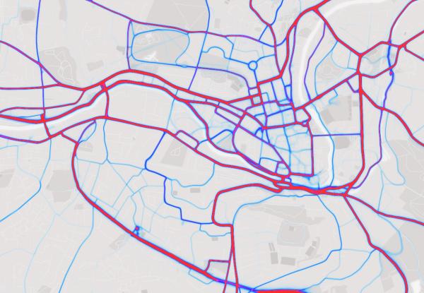 This is a screen cap from the Strava heatmap. Read on for our work