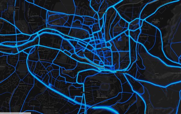 Strava Metro Heatmap of Bath